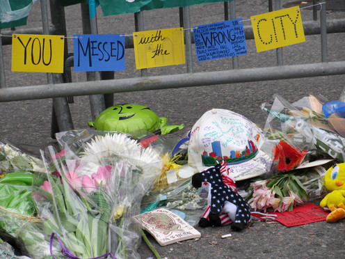 Boston Marathon bomb victims memorial on Boylston St.